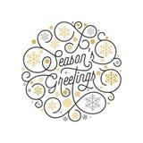 晒干问候书法字法和金黄雪花样式在白色背景圣诞节贺卡设计的 向量 库存图片