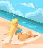 晒日光浴在海滩的可爱的妇女 库存例证