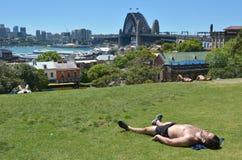 晒日光浴在悉尼新南威尔斯Austra的年轻澳大利亚人 图库摄影