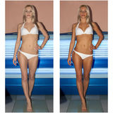 晒日光浴在日光浴室的妇女 免版税库存图片