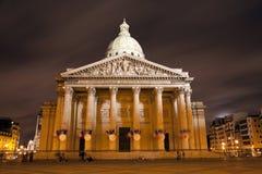晚上万神殿巴黎 免版税库存照片
