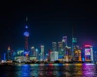 晚上上海地平线 免版税库存图片