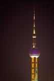 晚上东方珍珠塔 免版税库存照片