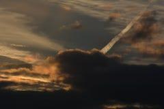 晚上云彩在法尔肯塞,勃兰登堡德国 库存图片