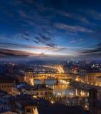 晚上佛罗伦萨顶视图,意大利 免版税图库摄影