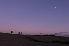 晚上光在温暖的托斯卡纳 免版税库存图片