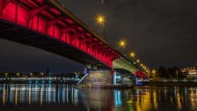晚上全景华沙 免版税图库摄影