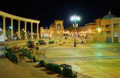 晚上吸引力在Il Mercato广场, Sharm El谢赫,埃及 库存图片