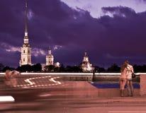 晚上圣彼德堡,俄罗斯 库存照片