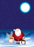 晚上圣诞老人场面 图库摄影