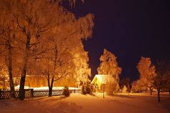 晚上在冬天射击了 图库摄影