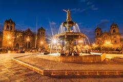 晚上在库斯科,秘鲁 库存图片