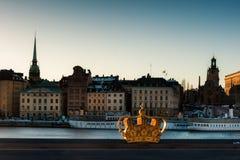 晚上在斯德哥尔摩 库存照片