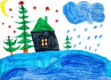 晚上在森林里。 儿童画 免版税库存照片