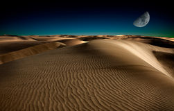 晚上在沙漠 免版税库存照片