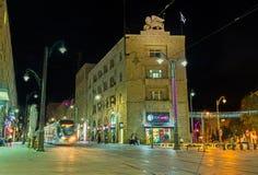 晚上在现代耶路撒冷 免版税图库摄影