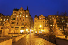 晚上在Klodzko,波兰 图库摄影