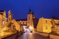 晚上在Klodzko,波兰 免版税库存图片