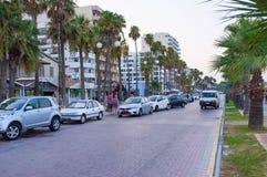 晚上在Larnaka 免版税库存照片