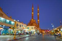 晚上在Sharm El谢赫上,埃及老市场  免版税库存照片