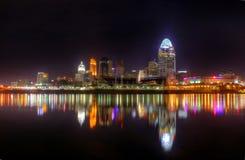 晚上地平线,辛辛那提,俄亥俄,社论 免版税库存图片
