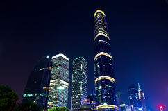 晚上场面在广州Zhujiang新的城镇 库存照片