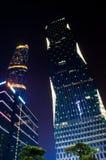 晚上场面在广州Zhujiang新的城镇 库存图片