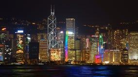 晚上场面在香港。 免版税图库摄影