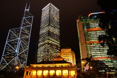 晚上场面在香港。 免版税库存照片