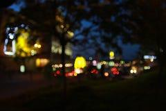 晚上城市bokeh 图库摄影