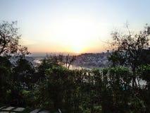 晚上太阳风景 库存图片