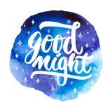 晚上好-在蓝色空间水彩背景隔绝的手拉的字法词组 乐趣刷子墨水题字为 库存图片