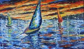 晚上小船绊倒,在湖的日落,油画 库存照片