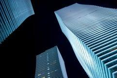 晚上市的光阿斯塔纳 免版税库存照片