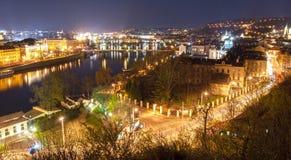 晚上布拉格视图 库存照片