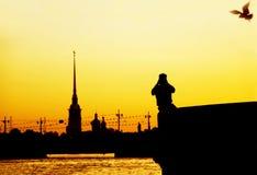 晚上彼得斯堡白色 图库摄影