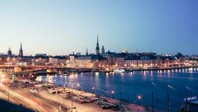 晚上斯德哥尔摩视图 免版税库存图片