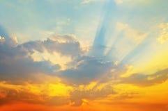 晚上日落天空 库存图片