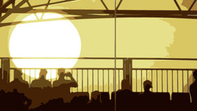 晚上日落的传染媒介与坐在foregroun的人的 库存图片