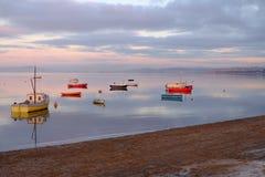 晚上日落莫克姆湾英国 免版税库存照片
