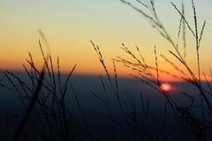 晚上日落,有一朵多云云彩 库存图片