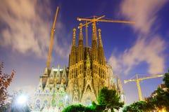 晚上时间的Sagrada Familia 巴塞罗那西班牙 免版税库存图片