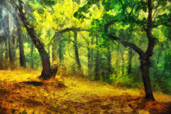 晚上森林的原始的油画 免版税库存照片