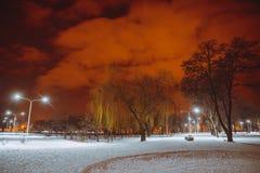 晚上横向在冬天城市 图库摄影