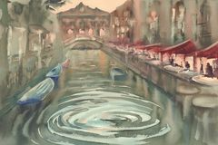 晚上水彩的威尼斯 免版税图库摄影