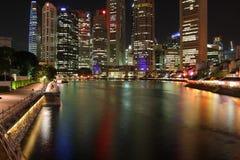 晚上河新加坡 免版税库存图片