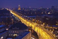 晚上波兰华沙 免版税库存照片