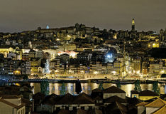 晚上波尔图葡萄牙河沿 库存图片