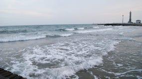 晚上海滩意大利 免版税库存图片