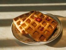 晚上点心用在太阳光芒的奶蛋烘饼  库存图片